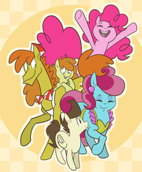 Size: 936x1128 | Tagged: safe, artist:egophiliac, part of a set, carrot cake, cup cake, pinkie pie, pound cake, pumpkin cake, earth pony, pegasus, pony, unicorn, slice of pony life, abstract background, cake family, cake twins, colt, description is relevant, eyes closed, family, female, filly, male, mare, older, open mouth, raised hoof, stallion, story included, twins