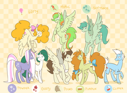 Size: 1558x1132 | Tagged: abstract background, apron, artist:egophiliac, bow, brother and sister, cake twins, clipper, clothes, description is relevant, earth pony, female, flying, g1, g1 to g4, generation leap, gusty, hair bow, lofty, long mane, long tail, male, mare, mimic (g1), oc, oc:softshoe, older, older pound cake, older pumpkin cake, part of a set, pegasus, pound cake, powder, pumpkin cake, raised hoof, safe, slice of pony life, spread wings, stallion, tail bow, twins, unicorn, wings