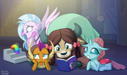 Size: 1350x796 | Tagged: artist:uotapo, blushing, book, bowtie, changedling, changeling, classical hippogriff, disgusted, dragon, dragoness, female, hippogriff, horn, jewelry, monkey swings, necklace, ocellus, safe, school daze, silverstream, slinky, smiling, smolder, spoiler:s08e01, spoiler:s08e02, stairs, that hippogriff sure does love stairs, tongue out, toy, wings, yak, yona