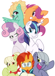 Size: 779x1071 | Tagged: alternate universe, artist:candie-cane-draws, base used, dead source, earth pony, glasses, granny smith, limestone pie, pegasus, pony, safe, scootaloo, shining armor, simple background, sunburst, sweetie belle, transparent background, unicorn, younger, young granny smith, zephyr breeze