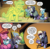 Size: 1053x1031 | Tagged: safe, artist:andypriceart, idw, auntie shadowfall, scarlet petal, winter comet, earth pony, pony, spoiler:comic, spoiler:comic65, brother and sister, cane, cloak, clothes, colt, comic, cropped, female, filly, male, mare, official comic, speech bubble, sweater, transformation, transformed