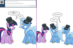 Size: 1204x800 | Tagged: artist:dekomaru, ask, comic, female, hat, lesbian, pony, safe, self ponidox, shipping, top hat, trixie, tumblr, tumblr:ask twixie, twilight sparkle, twixie, unicorn