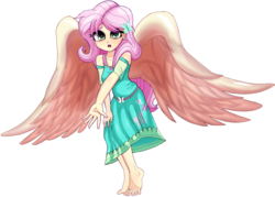 Size: 1024x733 | Tagged: safe, artist:nin10ja, fluttershy, equestria girls, angel, barefoot, beautiful, clothes, dress, feet, fluttershy the angel, large wings, looking at you, missing shoes, simple background, toes, transparent background, wings, worried