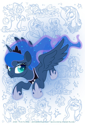 Size: 676x1000   Tagged: safe, artist:nanook123, nightmare moon, princess luna, spirit of hearth's warming yet to come, alicorn, pony, equestria girls, cloak, clothes, cloud, crown, female, flying, food, horn, jewelry, mare, pineapple, regalia, s1 luna, smiling, solo, vice principal luna, wings
