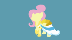 Size: 3840x2160 | Tagged: safe, artist:toastybrownpotatoes, fluttershy, pegasus, pony, fake it 'til you make it, 4k resolution, alternate hairstyle, clothes, dress, fashion, female, hooves, lineless, mare, minimalist, one hoof raised, raised hoof, showing off, simple background, solo, wallpaper, warrior of inner strength, warriorshy, wings