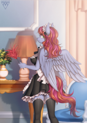 Size: 928x1300 | Tagged: anthro, anthro oc, artist:margony, breasts, clothes, commission, female, looking back, maid, mare, oc, oc only, pegasus, smiling, stockings, suggestive, thigh highs