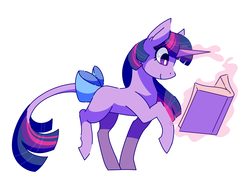 Size: 4000x3000   Tagged: safe, artist:uunicornicc, twilight sparkle, pony, unicorn, belle, book, bow, cute, female, glowing horn, leonine tail, magic, mare, reading, simple background, smiling, solo, tail bow, telekinesis, unicorn twilight, walking, white background