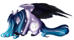 Size: 4687x2523 | Tagged: artist:crazllana, crying, female, mare, oc, oc:marie pixel, pegasus, pony, safe, simple background, solo, transparent background