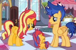 Size: 2271x1499 | Tagged: safe, artist:sparkling-sunset-s08, flash sentry, sunset shimmer, alicorn, pony, alicornified, baby, baby pony, family, female, flashimmer, male, offspring, parent:flash sentry, parent:sunset shimmer, parents:flashimmer, race swap, shimmercorn, shipping, straight