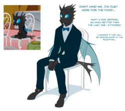 Size: 1850x1633 | Tagged: anthro, artist:askbubblelee, bowtie, chair, changeling, clothes, fangs, kevin (changeling), male, safe, scene interpretation, simple background, sitting, slice of life (episode), solo, suit, thinking, tuxedo, unguligrade anthro, white background