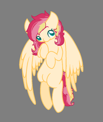 Size: 661x777 | Tagged: safe, artist:jaysey, oc, oc only, pegasus, pony, base used, blank flank, female, gray background, magical lesbian spawn, mare, offspring, parent:fluttershy, parent:sunset shimmer, parents:sunshyne, simple background, solo