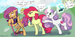 Size: 3461x1716 | Tagged: dead source, safe, artist:veesocks, apple bloom, scootaloo, sweetie belle, classical unicorn, earth pony, pegasus, pony, unicorn, argument, bad dragon, bendy straw, cloven hooves, cutie mark crusaders, dialogue, drink, drinking straw, easter egg, gamer belle, leonine tail, magic, older, older apple bloom, older scootaloo, older sweetie belle, pc master race, scootaloo is not amused, unamused, unshorn fetlocks, wings