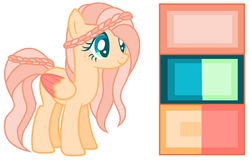 Size: 1024x662 | Tagged: safe, artist:chibuuuowo, oc, oc only, pegasus, pony, adoptable, base used, braid, braided tail, color palette, colored wings, colored wingtips, female, freckles, mare, offspring, parent:big macintosh, parent:fluttershy, parents:fluttermac, simple background, solo, white background