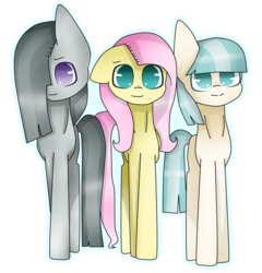 Size: 1024x1065 | Tagged: safe, artist:chibuuuowo, coco pommel, fluttershy, marble pie, missing accessory, outline, simple background, the council of shy ponies, transparent background