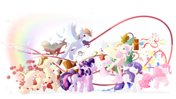 Size: 3176x1787 | Tagged: safe, artist:tohupo, applejack, fluttershy, pinkie pie, rainbow dash, rarity, starlight glimmer, twilight sparkle, alicorn, earth pony, pegasus, pony, unicorn, apple, applejack's hat, balloon, bird house, confetti, cowboy hat, female, food, hat, mane six, mare, pocket watch, rainbow, twilight sparkle (alicorn)