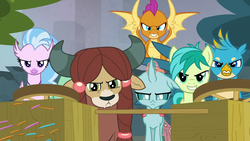 Size: 1280x720 | Tagged: safe, screencap, gallus, ocellus, sandbar, silverstream, smolder, yona, school daze, game face, its about to go down, student six, this will end in pain, this will end in tears