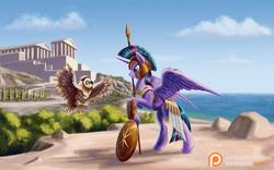 Size: 1440x900   Tagged: safe, artist:kirillk, owlowiscious, twilight sparkle, alicorn, owl, pony, acropolis, armor, athena sparkle, athens, cloud, costume, female, greek helmet, helmet, hoplite, horn, mare, mythology, ocean, parthenon, patreon, patreon logo, scroll, shield, sky, spear, tree, twilight sparkle (alicorn), warrior twilight sparkle, weapon, wings