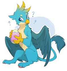 Size: 1134x1200 | Tagged: safe, artist:hioshiru, gallus, griffon, school daze, cheek fluff, chest fluff, easter egg, egg, fluffy, leg fluff, looking at something, male, question mark, simple background, sitting, solo, spread wings, white background, wings