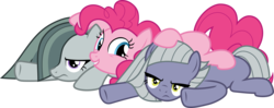 Size: 5164x2040 | Tagged: safe, artist:frownfactory, limestone pie, marble pie, pinkie pie, earth pony, pony, the maud couple, .svg available, annoyed, female, happy, lying on top of someone, mare, pie sisters, pile, siblings, simple background, sisters, svg, transparent background, trio, vector