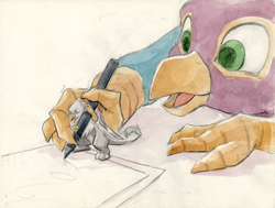 Size: 1234x931 | Tagged: safe, artist:thekuto, oc, oc only, oc:der, oc:gyro feather, oc:gyro tech, griffon, drawing, duo, griffonized, male, micro, open mouth, paper, pen, simple background, species swap, traditional art, watercolor painting