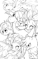 Size: 4950x7650   Tagged: safe, artist:alts-art, gallus, ocellus, sandbar, silverstream, smolder, yona, changedling, changeling, classical hippogriff, dragon, earth pony, griffon, hippogriff, pony, yak, school daze, absurd resolution, black and white, dragoness, female, flying, grayscale, jewelry, male, monochrome, necklace, simple background, smiling, student six, teenager, white background