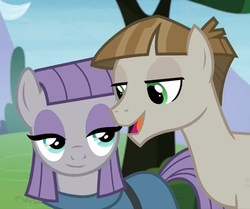 Size: 876x734   Tagged: safe, screencap, maud pie, mudbriar, earth pony, pony, the maud couple, female, male, maudbriar, shipping, smiling, straight, when she smiles