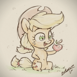 Size: 960x960 | Tagged: apple, applejack, artist:assasinmonkey, chibi, cute, earth pony, female, food, freckles, jackabetes, mare, pony, safe, solo