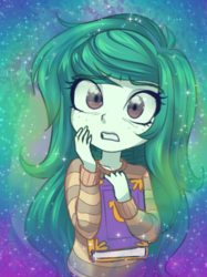 Size: 1205x1607 | Tagged: safe, artist:rileyav, wallflower blush, equestria girls, equestria girls series, forgotten friendship, anime, book, clothes, cute, female, flowerbetes, freckles, scared, solo, sweater