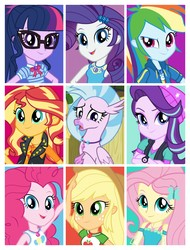 Size: 3106x4096 | Tagged: safe, applejack, fluttershy, pinkie pie, rainbow dash, rarity, sci-twi, silverstream, starlight glimmer, sunset shimmer, twilight sparkle, classical hippogriff, hippogriff, equestria girls, equestria girls series, school daze, geode of empathy, geode of fauna, geode of shielding, geode of sugar bombs, geode of super speed, geode of super strength, geode of telekinesis, humane five, humane seven, humane six, magical geodes, multicolored hair, one of these things is not like the others