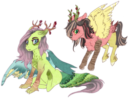 Size: 900x692 | Tagged: artist:castaspellliana, blank flank, draconequus, draconequus oc, duo, female, flying, hybrid, interspecies offspring, next generation, oc, oc:felis, oc only, oc:pavo, offspring, parent:discord, parent:fluttershy, parents:discoshy, safe, simple background, spread wings, transparent background, wings