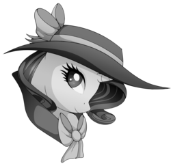 Size: 1140x1110   Tagged: safe, artist:uunicornicc, rarity, pony, unicorn, rarity investigates, bow, bust, clothes, detective rarity, female, grayscale, hat, mare, monochrome, simple background, smiling, solo, transparent background, trenchcoat
