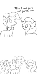 Size: 1650x3300 | Tagged: artist:tjpones, black and white, bowtie, comic, dialogue, father and daughter, female, grayscale, jack pot, male, mare, monochrome, mother and daughter, safe, simple background, stallion, starlight glimmer, trio, trixie, unamused, unicorn, white background