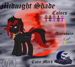 Size: 1924x1724 | Tagged: artist:zenni millano, blood moon, character, cutie mark, fog, goth, gothic, moon, oc, oc:midnight shade, original, ponysona, red and black oc, ref, reference, safe, sheet, unicorn