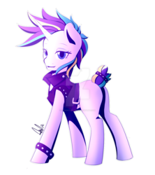 Size: 1024x1152   Tagged: safe, artist:paintcoloryt, rarity, unicorn, alternate hairstyle, clothes, female, horn, jacket, mare, missing cutie mark, punk, raripunk, simple background, solo, transparent background, watermark