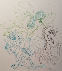 Size: 2443x2831   Tagged: safe, artist:creeate97, princess skystar, classical hippogriff, hippogriff, my little pony: the movie, cheek fluff, chest fluff, dialogue, flying, heart, jewelry, necklace, signature, simple background, spread wings, traditional art, trio, unshorn fetlocks, wings
