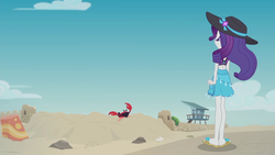 Size: 1920x1080 | Tagged: safe, screencap, rarity, crab, giant crab, aww... baby turtles, equestria girls, equestria girls series, beach, clothes, cloud, crab fighting a giant rarity, feet, flip-flops, rarity fighting a giant crab, rarity fighting a regular sized crab, role reversal, sand, sandals, sky, solo, swimsuit