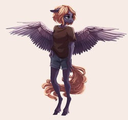Size: 2000x1878 | Tagged: anthro, artist:weird--fish, clothes, female, floppy ears, oc, oc only, pegasus, safe, shirt, shorts, simple background, solo, spread wings, t-shirt, unguligrade anthro, wings