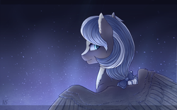Size: 4000x2500 | Tagged: artist:nightskrill, bow, bust, female, hair bow, looking back, mare, night, oc, oc only, pegasus, pony, safe, solo, spread wings, stars, wings