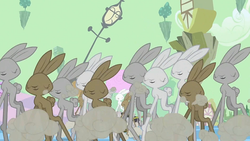 Size: 1280x721 | Tagged: bunny stampede, chaos, dust cloud, eyes closed, floating island, rabbit, safe, screencap, stampede, the return of harmony