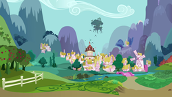Size: 1280x720 | Tagged: golden oaks library, mountain, ponyville, ponyville town hall, safe, scenery, screencap, the crystal empire, town, tree, windmill