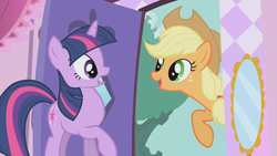 Size: 1280x720 | Tagged: applejack, carousal boutique, door, mirror, safe, screencap, shocked, smiling, the ticket master, twilight sparkle