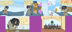 Size: 4508x2004 | Tagged: artist:slushnstuff, ask, ask-clover-the-clever, candy, cloak, clothes, colt, discord, discord as a pony, food, male, pony, safe, snow, tumblr, unicorn, winter