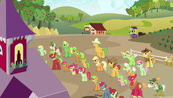 Size: 1280x720 | Tagged: animation error, apple bloom, apple cinnamon, apple family, apple family member, apple family reunion, applejack, apple mint, apple squash, apple strudel, apple tree, auntie applesauce, babs seed, barn, big macintosh, braeburn, chicken coop, corn, cowboy hat, earth pony, food, garden, granny smith, hat, hay bales, hayseed turnip truck, lettuce, pony, raise this barn, safe, screencap, sign, stetson, sweet tooth, tree, well