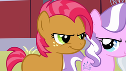 Size: 1280x720 | Tagged: babs seed, barn, diamond tiara, mean, one bad apple, safe, screencap, smiling