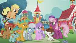 Size: 1280x720 | Tagged: button mash, cheerilee, crusaders of the lost mark, diamond tiara, flag, flower, pipsqueak, playground, pony, ponyville schoolhouse, safe, screencap, silver spoon, snails, snips, the pony i want to be
