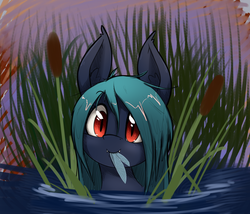 Size: 1909x1631 | Tagged: artist:otakuap, bat pony, bat pony oc, cattails, eating, female, insect, large ears, looking at you, mare, oc, oc only, pony, safe, smiling, solo, this ended in death, water