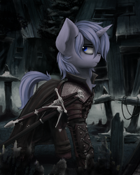 Size: 2400x3000 | Tagged: artist:blvckmagic, clothes, commission, looking back, male, oc, oc only, oc:storm call, pony, safe, solo, stallion, sword, weapon
