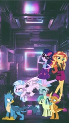 Size: 839x1495   Tagged: safe, editor:php77, gallus, ocellus, sandbar, sci-twi, silverstream, smolder, sunset shimmer, twilight sparkle, classical hippogriff, griffon, hippogriff, pony, equestria girls, equestria girls series, school daze, equestria girls in real life, geode of empathy, geode of telekinesis, irl, magical geodes, phone wallpaper, photo, ponies in real life, wallpaper