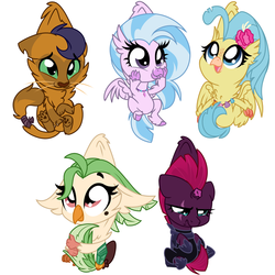 Size: 1024x1024 | Tagged: safe, artist:kellythedrawinguni, capper dapperpaws, captain celaeno, princess skystar, silverstream, tempest shadow, abyssinian, cat, classical hippogriff, hippogriff, parrot, pony, unicorn, my little pony: the movie, school daze, armor, behaving like a cat, capperbetes, celaenobetes, chibi, cute, diastreamies, female, mare, scruff, simple background, skyabetes, smiling, tempestbetes, white background