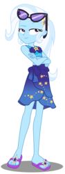Size: 882x2342 | Tagged: safe, artist:lifes-remedy, edit, edited screencap, screencap, trixie, equestria girls, equestria girls series, forgotten friendship, bikini, clothes, crossed arms, feet, female, flip-flops, looking at you, not a vector, raised eyebrow, sandals, sarong, sexy, simple background, solo, sunglasses, swimsuit, transparent background, vector